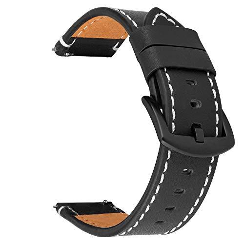 iBazal 22 mm armband leer horlogeband lederen armband vervanging voor Samsung Galaxy Watch 46 mm SM-R805/800, Gear S3 Frontier/S3 Classic SM-R760/770, Huawei GT/Honor Magic/2 Classic, Ticwatch Pro - zwart