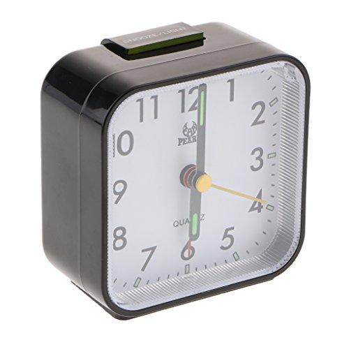 perfk Reloj Despertador de Cuarzo Analógico con Pilas Snooze - Negro, Individual