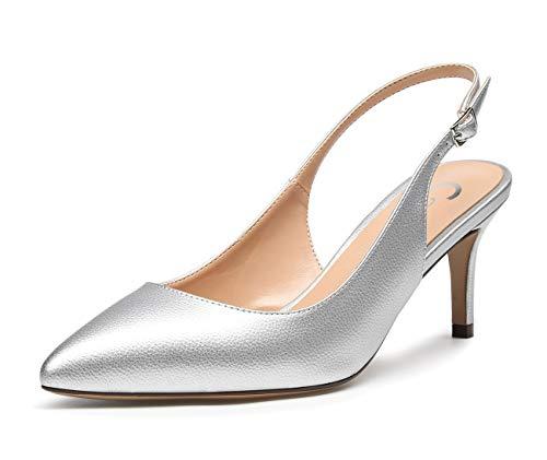CASTAMERE Damen Slingback Kitten Heels Spitzen Zehen Pumps Adjustable-Strap Sandalen Stilettos 6.5CM PU Silber Schuhe EU 40