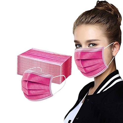 50 Pcs Disposable Cover Unisex Oral Protection 3-ply Filter Dustproof Cover, High Filtration and Ventilation Security, as shown (50pcs#Hot Pink)