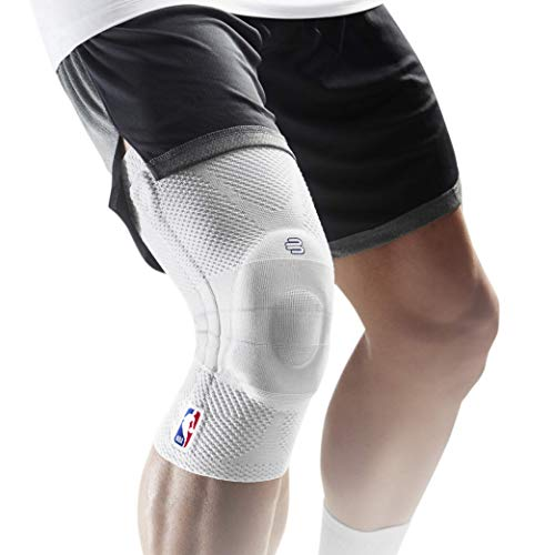 Bauerfeind GenuTrain NBA Knee Brace - Basketball Support with Medical Compression - Sleeve Design with Patella Pad Gel Ring for Pain Relief & Stabilization (Black, M)