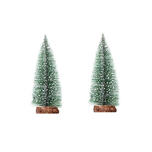 NUOBESTY 2 Stück Mini-Weihnachtsbaum Desktop Ornament Tisch Zeder für Weihnachten Parteidekoration (25cm)
