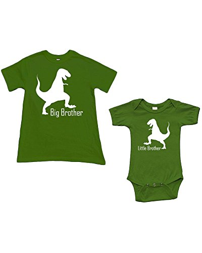 Baby 6-12m + Boys 2y, Green/Green (Little Brother & Big Brother-Dinosour)
