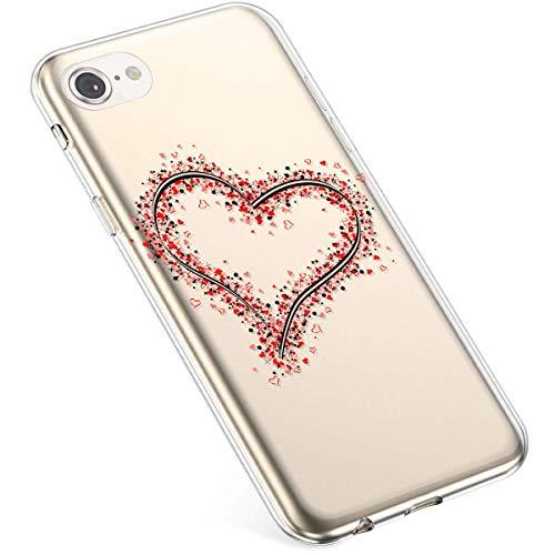 Uposao Kompatibel mit iPhone 6S Plus 5.5 Hülle Crystal Case Schutzhülle Hülle mit Muster Motiv Transparent TPU Silikon Durchsichtig Stoßfest Handyhülle Backcover Tasche,Rot Liebe