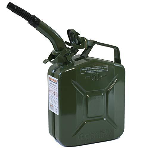 Stahlblechkanister oliv 5 Liter + Auslaufrohr flexibel Benzinkanister Kanister