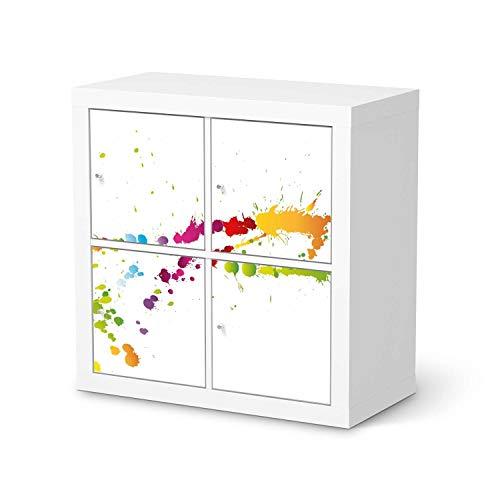 creatisto Möbel-Folie passend für IKEA Kallax Regal 4 Türen I Möbelfolie - Möbel-Tattoo Sticker Aufkleber I Deko Ideen Wohnung für Esszimmer und Wohnzimmer - Design: Splash 2