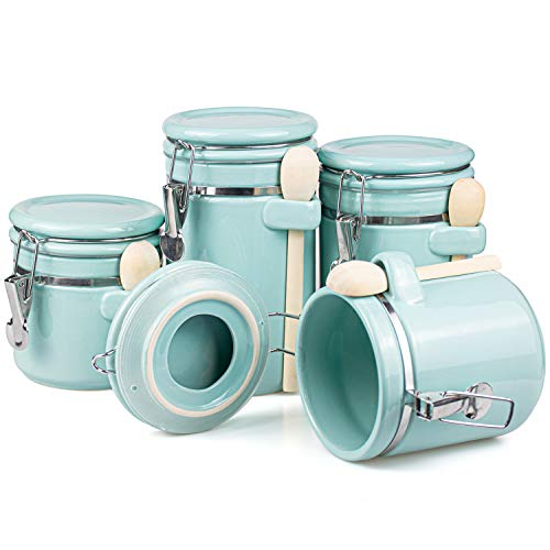 Foraineam 4-Piece Ceramic Canister Set Airtight Food Storage Container with Clamp Top Lid and Wooden Spoon