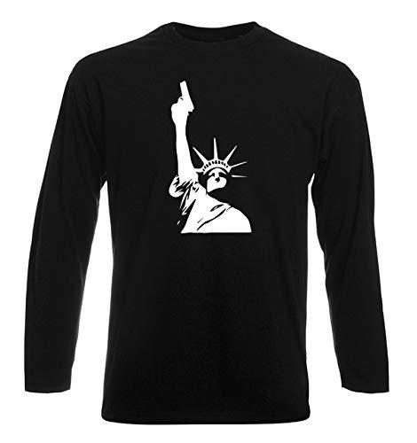 T-Shirt por los Hombre Manga Larga Negra FUN3691 de Estatua de la...