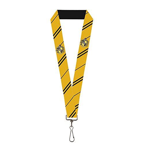 "Buckle-Down mens Lanyard - 1.0"" Hufflepuff Crest/Stripe Yellow/Black Key Chain, Multi, One Size US"