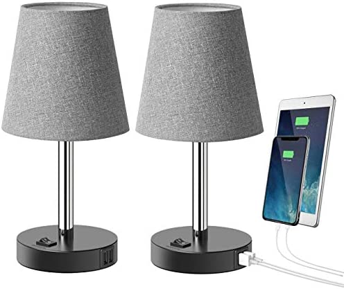 Tomons USB Table Lamp with 2 USB Charging Ports Modern Minimalist Bedside Lamp Design Nightstand product image