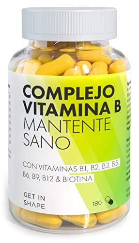 VITAMINA B COMPLEX – 180 cápsulas de vitaminas tipo B (Vitamina B12, Vitamina B6, Vitamina B1, Biotina, Niacina, Ácido Fólico…) – vegano - de Get In Shape
