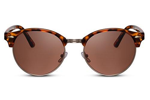 Cheapass Sonnenbrillen Braun Runde Gläser UV-400 Browline Vintage Leo-Print Retro Plastik Frauen Männer