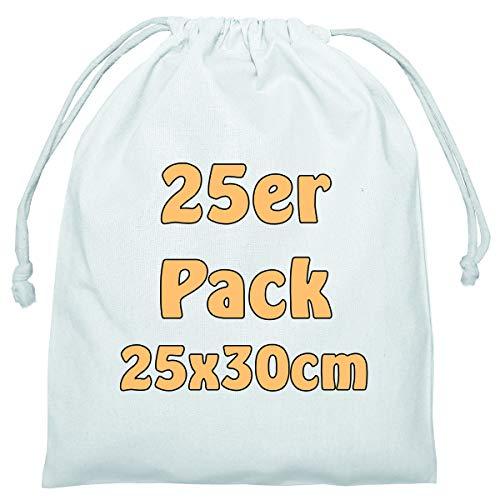 Cottonbagjoe Baumwollbeutel Stoffbeutel mit Kordelzug Lunchsack Kosmetikbeutel Sockenbeutel Schmucksäckchen Spielzeugtäschchen für Kleinigkeiten 25x30cm (weiß, 25 Stück)