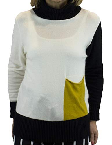 Fornarina Strickpullover mit Tasche, mehrfarbig, Weiß M