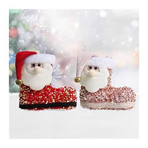 GDYJP 2PC Navidad Santa Candy Boots Lechas de Lentejuelas Calcetines Zapatos Snacking Snacks Pen Contenedor Colgantes for el árbol de Navidad (Color : A, Tamaño : One Size)