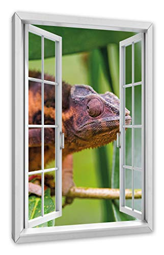 Pixxprint bruin chameleon, raam canvasfoto | muurschildering | kunstdruk hedendaags 60x40 cm