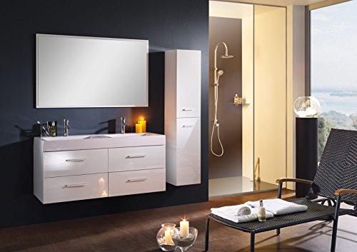 Bad11® - Badmöbelset Hellas, Bad Möbel Set Hochglanz weiß, mit Doppel-Waschbecken aus Mineralguss Waschplatz breitem Spiegel und Hochschrank, mögliche Varianten: weiß/schwarz/grau