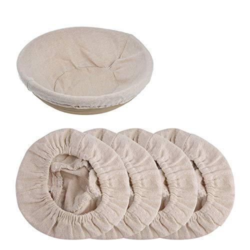 4Piezas Forro de Tela de Cesta de Panificación,forro de tela para cesta a prueba de pan Banneton forro de tela para masa madre tela a prueba de Banneton cubierta de cesta de masa para hornear de ratán