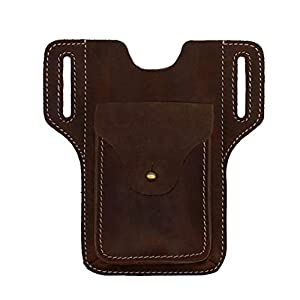 Leather Phone Holster for Men Belt Clip Cell Phone Pouch Case Tool Bags Waist Bag Pack Mobile Phone Holster Holder with…