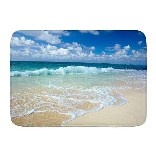 N\A Tappetino da Bagno, Spiaggia ondulata con Onde spumeggianti sulla Riva del Mare Vuota Tema di Vacanza Costiera Serena, tappetini arredo Bagno Peluche con Supporto Antiscivolo