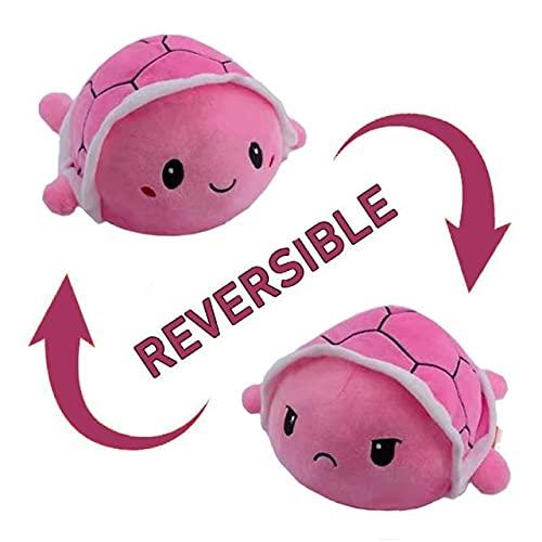 Peluches Reversibles Divertidos - Animales Super Suaves - Regalos Originales - Distintos Colores - Juguetes muñecos - Cara Feliz niños pulpos tiktok (Tortuga Rosa)