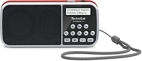 TechniSat TECHNIRADIO RDR – portables DAB+/UKW Radio (LCD-Display, Favoritenspeicher, Direktwahltasten, Kopfhöreranschluss, USB, AUX-in, LED-Taschenlampe, wechselbarer Akku, 1Watt, klein) rot