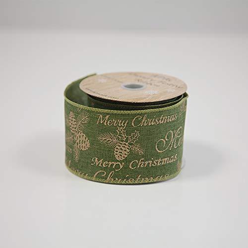 Decor Essentials, Biglietti di Natale a Tema Natalizio, con Nastro Metallico, 63 mm x 9,1 m, Organza, Green Merry Xmas Meessage Ri6906, 63mm x 10yds