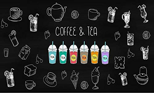 Tony plate 3D Fototapete Wandgemälde Handgemalte Kaffee Schwarz Und Weiß Hintergrundbild Restaurant Fast-Food-Restaurant EIS Auto Dessert Shop Coffeeshop Poster Wandbild-150Cmx105Cm(Lxh)