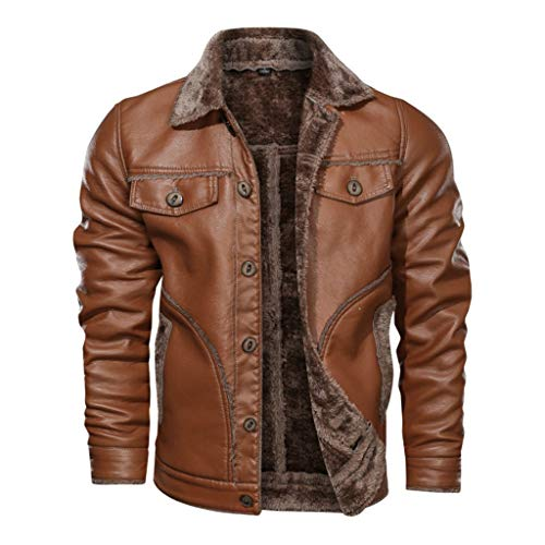 Stoota Mens Vintage Winter Faux Leather Lined Jacket, Regular Fit Zipper Up Turn Down Fur Collar Coat Plus Size M-8XL Brown