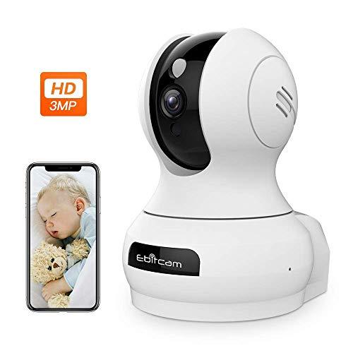 3MP Super HD 2048 * 1536P Überwachungskamera Innen WLAN Handy, WiFi IP Kamera Babyphone mit AI Intelligenz, 2-Wege-Audio, 360° Weitwinkel und Nachtsicht, Haustier/Haus Baby Monitor Sicherheitskamera