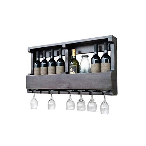 Estantes para vino, gabinete de madera de pared, estante de almacenamiento de botellas de champán vintage, soporte para exhibición de pared, tiene capacidad para 8 botellas de vino y 8 vasos, negro,