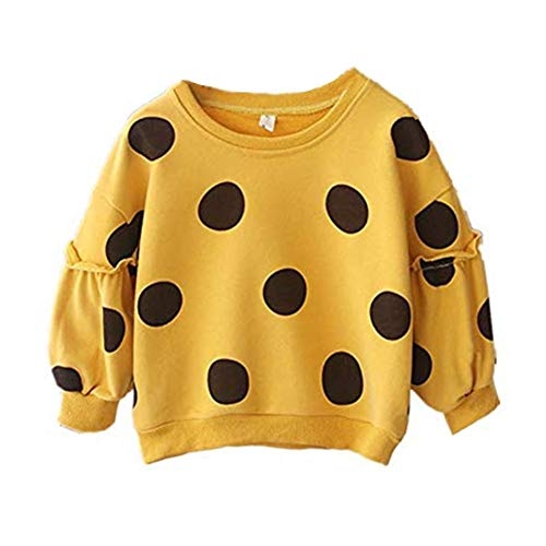 Toddler Baby Girl Polka Dots Sweater Kid Long Sleeve Warm Spring Fall Winter Pullover Tops Hoodies Sweatshirt Outfits (Dots Yellow, 1-2T)