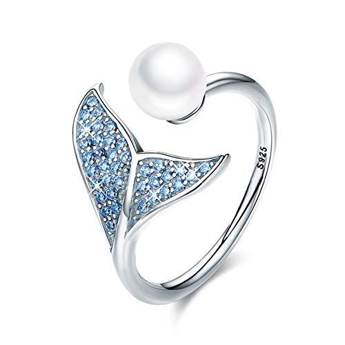 Anillo de cola de sirena, S925 de plata de ley con cola de delfín ajustable para mujeres y niñas, anillo abierto con circonita cúbica azul y perla de concha regalo para el día de la madre
