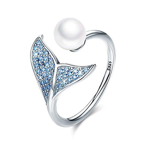 FOREVER QUEEN Mermaid Tail Ring, S925 Sterling Silver Dolphin Tail Adjustable Finger Ring for Women Girls Open Ring with Blue Cubic Zirconia& Shell Pearl Valentine's Day Gift