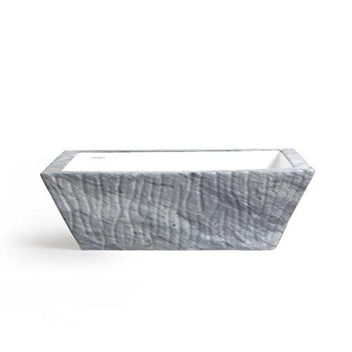 Vasque Lavabo à Poser/Suspendu Rectangulaire Pietra Bardiglio en céramique 60x40xH20 cm (avec bassin blanc)
