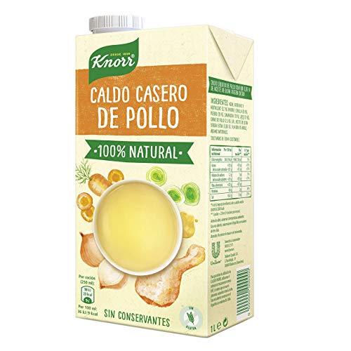 Knorr - Caldo Líquido Casero de Pollo 100{2f5488c6c2d14ef77cdfe30e3bf5809a988aa10e0db49a249aba5289c5ee99c0} Natural sin Gluten ni Conservantes, 1L (8 unidades)