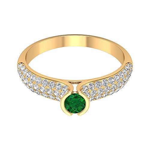 Anillo de esmeralda solitario de 4,00 mm, anillo de diamante HI-SI, conjunto de bisel de oro (calidad AAA), 14K Oro amarillo, Size:EU 66