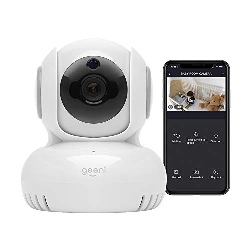 Geeni Sentinel 720p Wireless Indoor Surveillance Camera with Pan/Tilt/Zoom, 2-Way Talk, Night Vision and Motion Alerts, Works with Alexa and Google Assistant, No Hub Required (White)