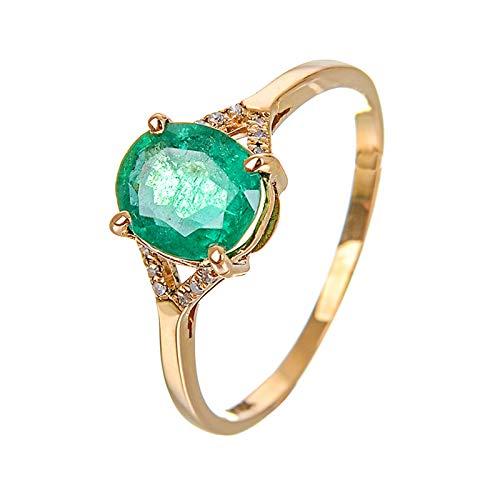 Daesar Damen Ring 750 Gelbgold 4-Steg-Krappenfassung Oval Smaragd Trauring Gold Diamant Verlobungsring 56 (17.8)
