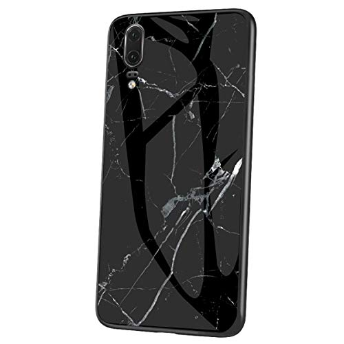 Herbests Kompatibel mit Huawei P20 Hülle Gehärtetes Glas Rückseite + Silikon Bumper Handyhülle Marmor Muster Kratzfeste Hardcase Schutzhülle Stoßfest Hybrid Hülle,Schwarz
