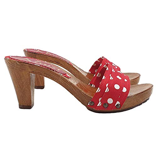 Holzschuhe für Frauen Made in Italy, HOLZEFFEKT Clogs MIT ROTE FARRBAND - K5101 ROSSO POIS