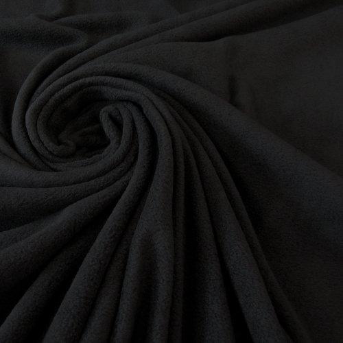 Stoff Meterware Fleece Polar - Fleece weich kuschelig schwarz Kleiderstoff Preis pro Meter