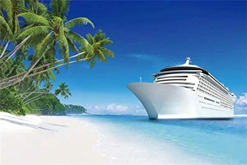 OFILA Cruise Party Photos Backdrop 5x3ft Polyester Fabric Sandbeach Photography Background Summer Holidays Tropical Beach Worldwide Travel Photos Palm Trees Paradise Photos Props