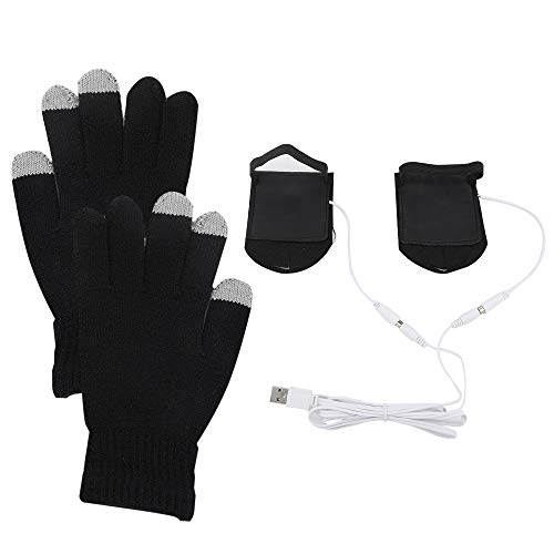 QTER Guantes unisex para hombre y mujer 5 V USB calentados, con pantalla táctil de 3 dedos, cálidos a prueba de heladas, guantes para tejer, para interiores o exteriores