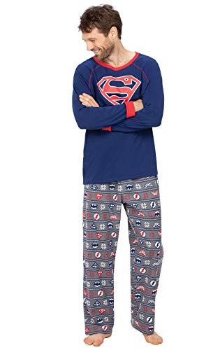 PajamaGram Mens Superman Pajamas Comfy - Superhero Pajamas, Red, Large