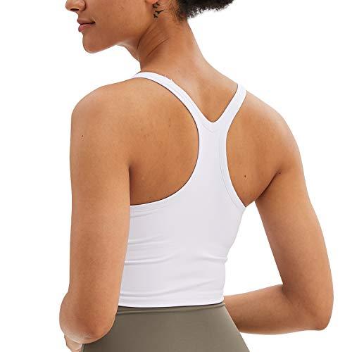 BOTRE Damen Sport BH Push up BH ohne Bügel Yoga BH mit Abnehmbare Gepolstert Jogging Lauf Fitness Training Crop Tank Top (Weiß 02, Small)