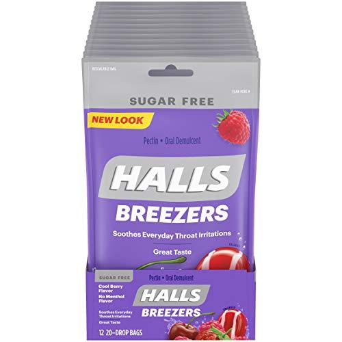 HALLS Breezers Cool Berry Sugar Free Throat Drops, 12 Packs of 20 Drops (240 Total Drops)