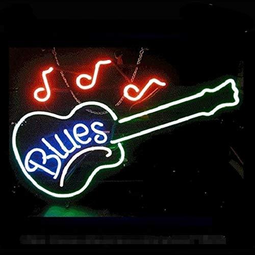 Letrero De Neón Neon Sign Para Blues Guitar Glass Tube Música Hecha A Mano Con Metal Marco Obra Gran Regalo Lámpara De Noche Super Bright Advertise