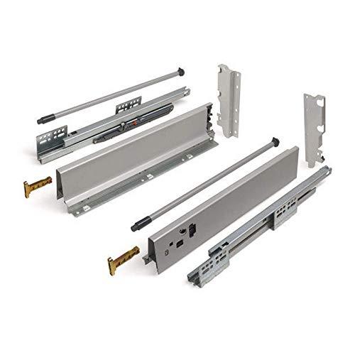 SOTECH Schubkastensystem SO-BOX grau Höhe: 199 mm mit Reling Tiefe: 500 mm Schubladensystem belastbar bis 40 Kg Soft-Close