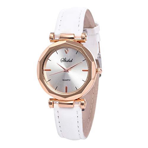 Luckhome Fashion Damen-Armbanduhr Analog Quarz Mit Leder Armband Mode Frauen Casual Uhr Analog Quartz Kristall Armbanduhr Quarzgürteluhr Für Damen(Weiß)